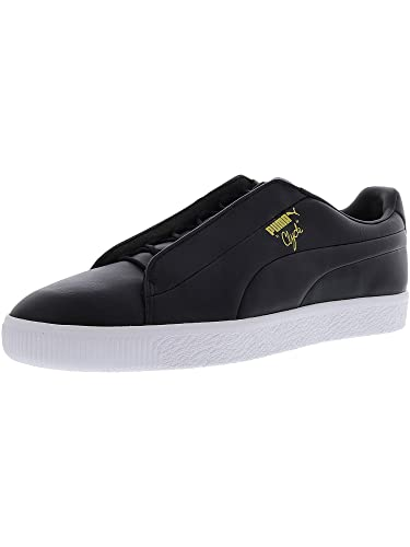 afd5eeffb69f Puma Clyde Fashion Mens Black Leather Lace Up Sneakers Shoes 5.5