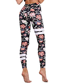 e2de86cff20ea Hioinieiy Women's Floral Printed High Waisted Leggings Workout Seamless Yoga  Pants Various Styles