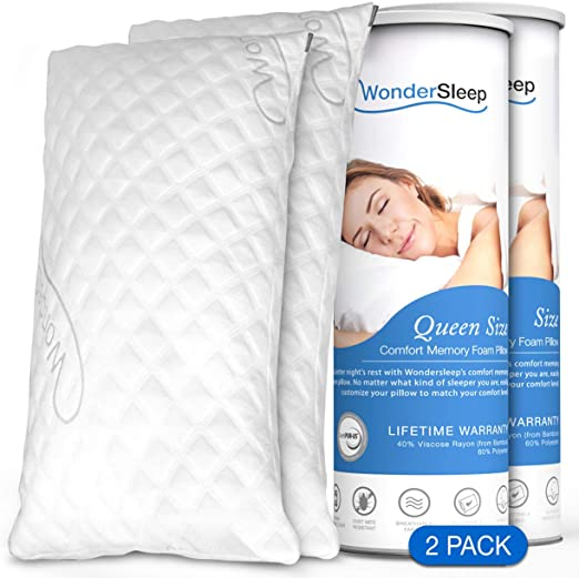 Memory Foam Pillows with Cooling Gel Pad Premium Contour Ergonomic Neck Pillow with Free Luxury Soft Bamboo Pillow Cover Washable Pillow Case Hypoallergenic Neck Support for Pain Relief Standard Queen Size by PerfectSense