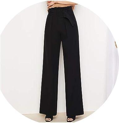 Amazon Com No Puede Estar Satisfecho De Las Mujeres De Cintura Alta Pantalones Sueltos Oficina Lady De Pierna Ancha Pantalones Mujer Negro Bandas De Trabajo Pantalones Largos Moderno L Clothing
