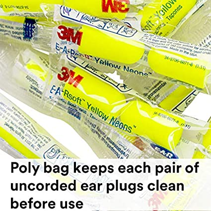Pack of 200 Yellow E-A-R by 3M 10080529120646 Disposable Uncorded Earplug 200 Pairs Standard
