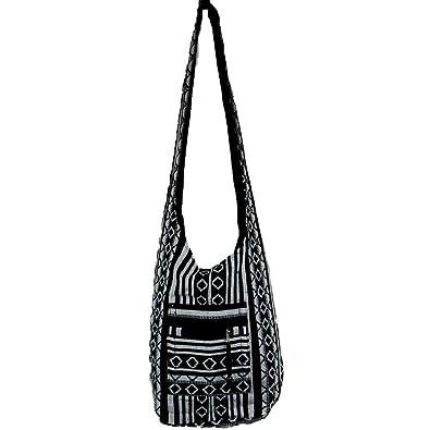 d3cf710dc52 Black Diamond Pattern Hippie Festival Cotton Canvas Shoulder Bag ...