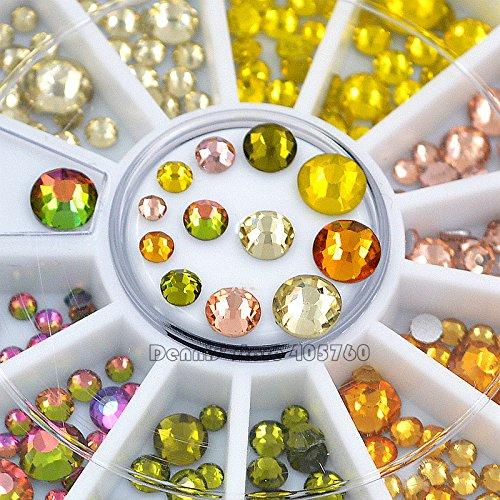 Mix Sizes Glitter Yellow Series Round Facets Diamond Nail Art Rhinestones Decorations Manicure DIY Wheel by DKjiaoso