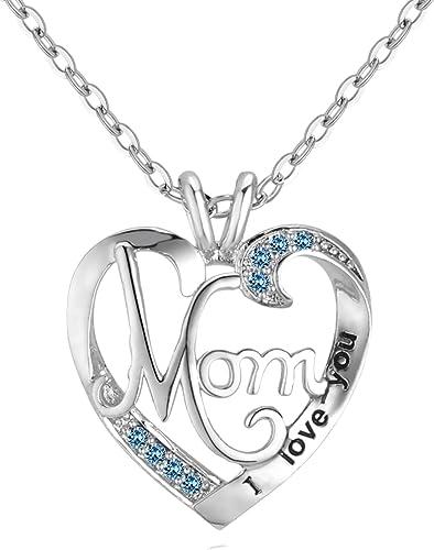 corazón collar I Love You yo te amo mamá cadena regalo de cumpleaños Luna