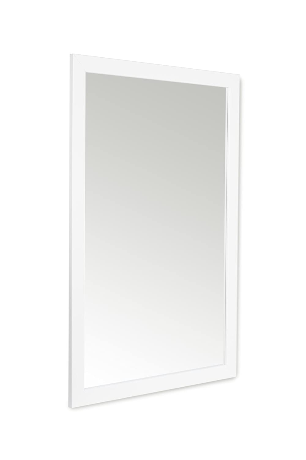 58 x 84cm White Framed Mirror with Wall Hanging Fixings