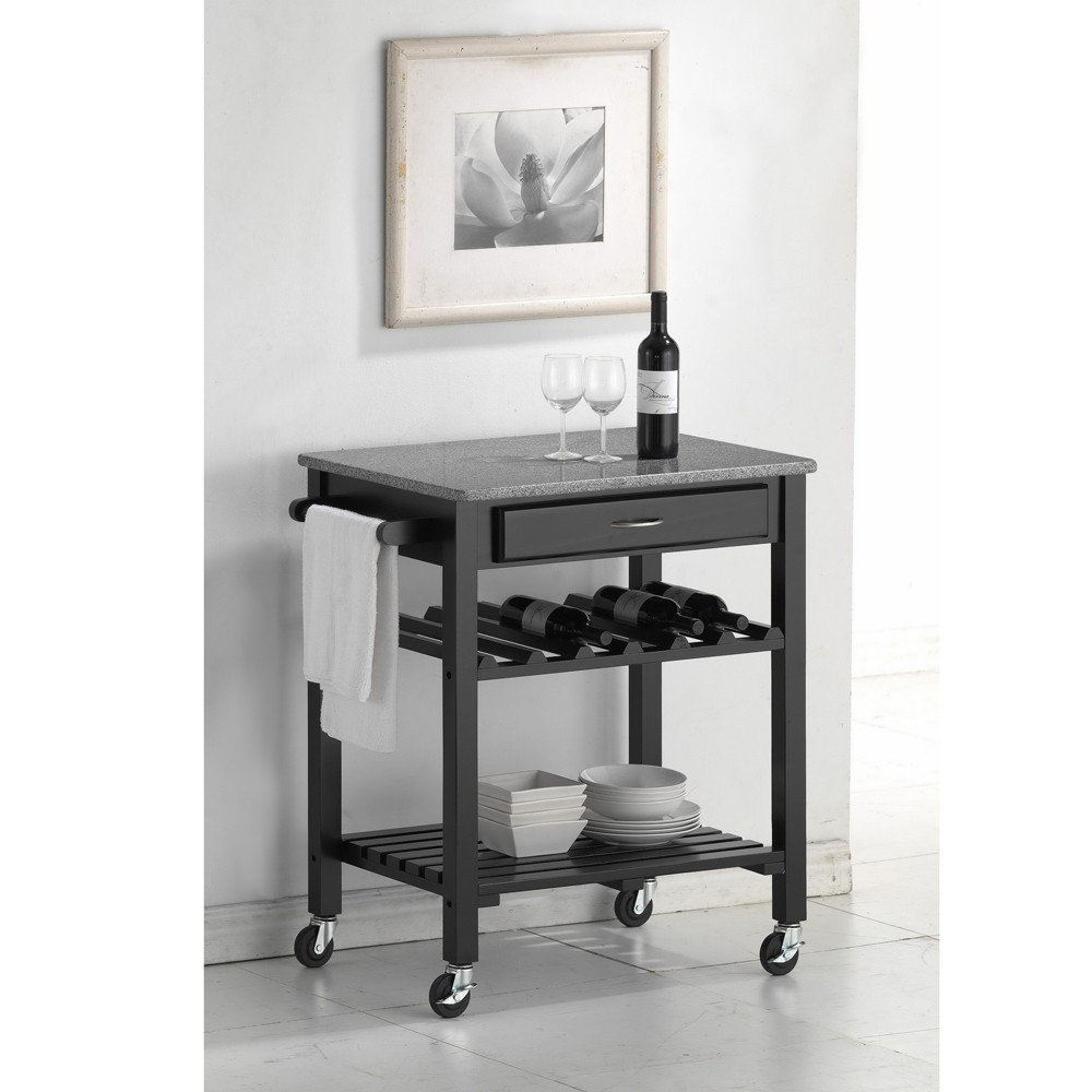 Amazon.com   Baxton Studio Quebec Black Wheeled Modern Kitchen Cart With  Granite Top   Kitchen Islands U0026 Carts