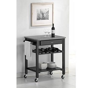Merveilleux Baxton Studio Quebec Black Wheeled Modern Kitchen Cart With Granite Top