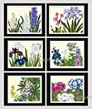 Blue Flowers Art Print Set of 6 Antique Japanese Woodblock Beautiful Botanical Wildflowers White Violet Pink Iris Hyacinth Green Garden Nature Home Room Wall Decor Unframed