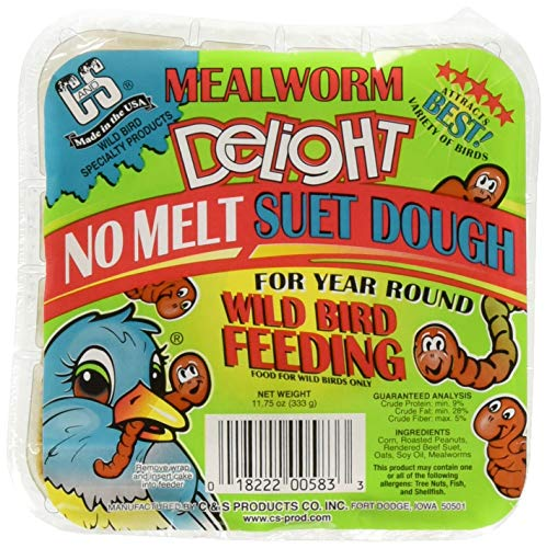 C & S (3 Pack Mealworm Delight No Melt Suet Dough, 11.75-Ounce