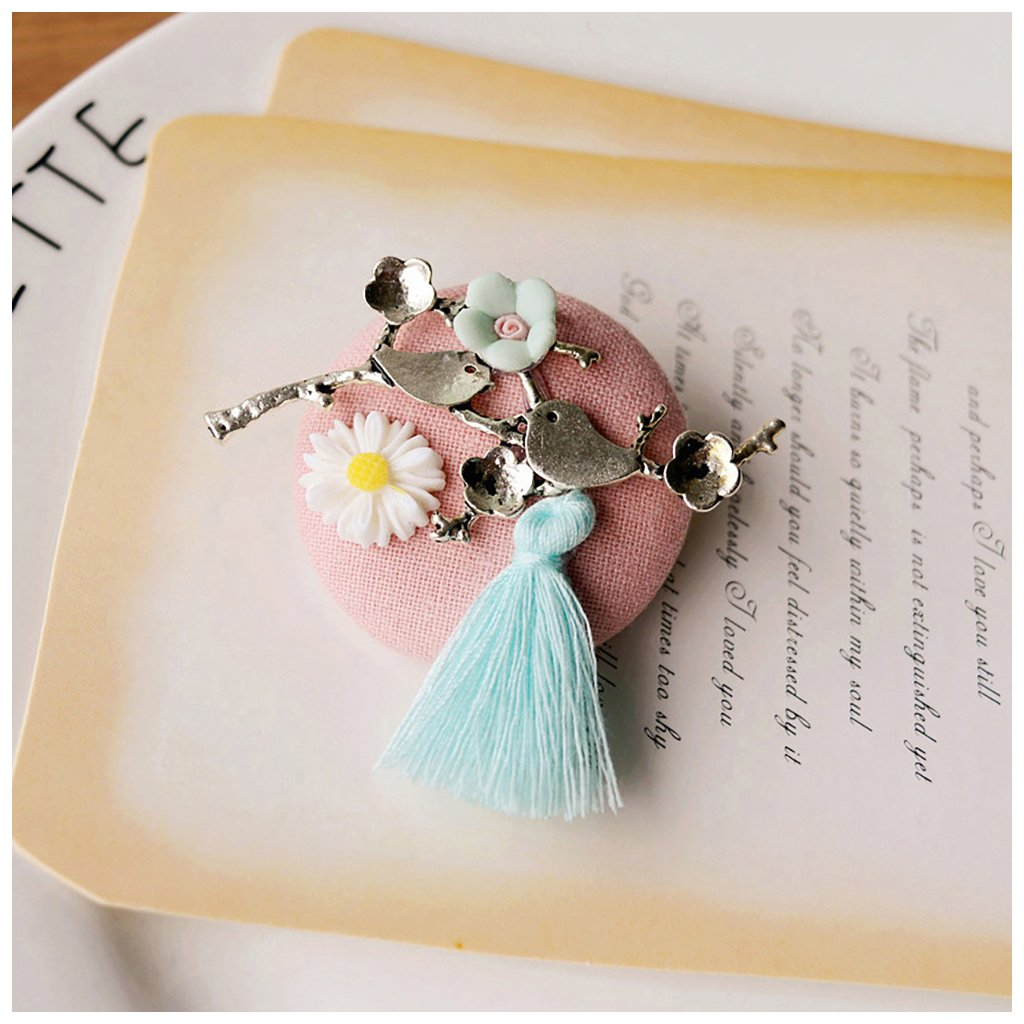 MIXIA Handmade Pink Fabric Pin Brooch Love Birds White Daisy Blue Tassels on Large Brooches for Sweater Dresses Valentine Jewelry