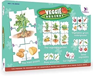 ToyKraft: Veggie Delight   Educational Learning Game for Kids   Picture Matching Game   Montessori Puzzles for 5-7 Year Olds
