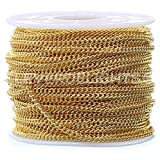 CleverDelights Curb Chain Spool - 2.2x3mm Link - Gold Color - 30 Feet - Bulk Jewelry Roll