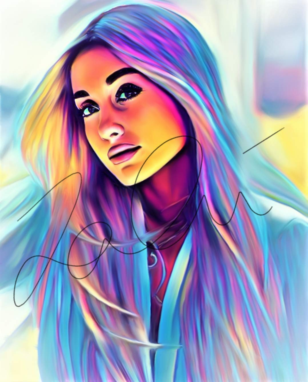 Amazon com ariana grande abstract drawing print poster hand drawn pop art vibrant painting ariana abstract13 handmade