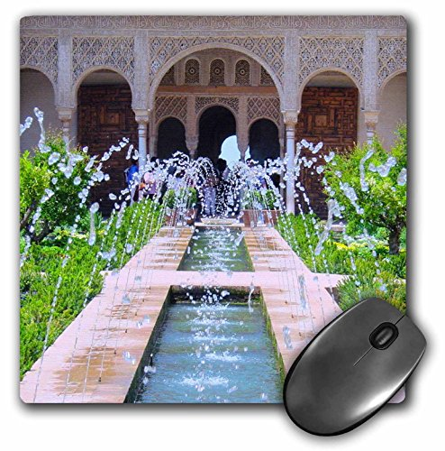 3Drose LLC 8 X 8 X 0.25 Inches Mouse Pad, Water Fountains at Alhambra Palace Gardens in Grenada Spain, Islamic Turkish Muslim Fretwork Arches (Mp_112956_1) (Alhambra Fountain)