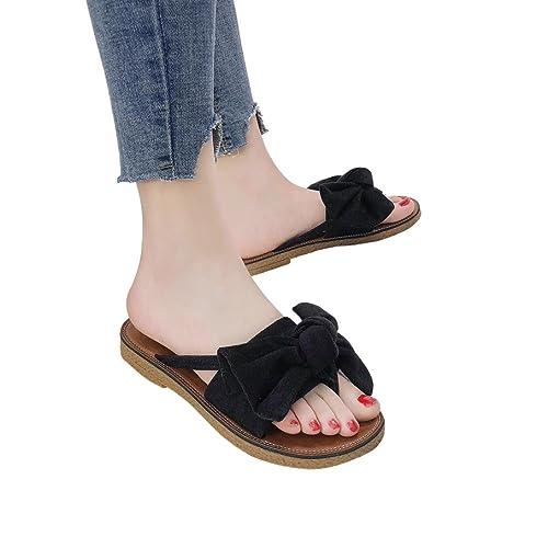 7f251edbb6b46 Fheaven Flat Slipper - Women Big Bow Tie Sandals Strap Slipper Casual Beach  Shoes (US
