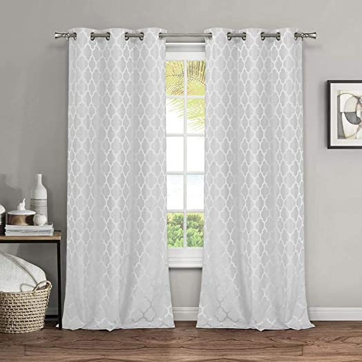 Leyden 1 Panel Grommet Top Faux-Silk Doupion Insulated Room Darkening Soild Multi-Colors Curtain Drapes 55 Wide x 102-inch Length, Gray