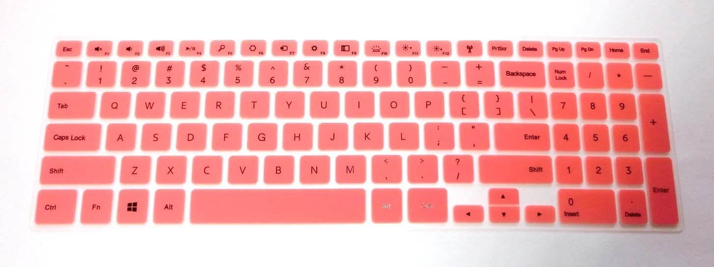 """BingoBuy Semi-Pink Backlit Ultra thin Silicone Keyboard Protector Skin Cover for 15.6'' Dell Inspiron 15-7537, i7537T, i7537T-3342sLV, i7537T-1121sLV, i7537T-4340sLV (if your """"enter"""" key looks like """"7"""", our skin can't fit) with BingoBuy Card Case for Credit, Bank, ID Card"""