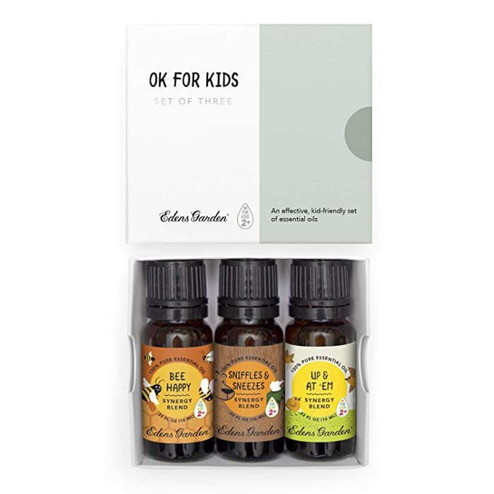 "Edens Garden""OK For Kids"" 3 Set, Best 100% Pure Essential Oil Synergy Blend Aromatherapy Starter Kit (Child Safe 2+, For Diffuser & Therapeutic Use), 10 ml"