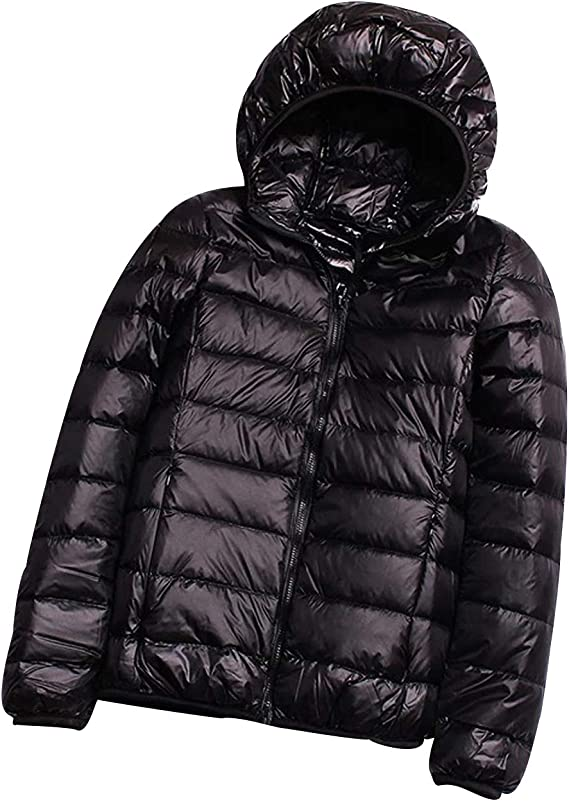 Lightweight Long Down Jacket Women with Hood Womens Down Coats Womens Packable Down Jacket Down Filled Coat Stand Collar Quilted Padded Hooded Puffer Jacket Ladies Bubble Puffa Jacket Winter