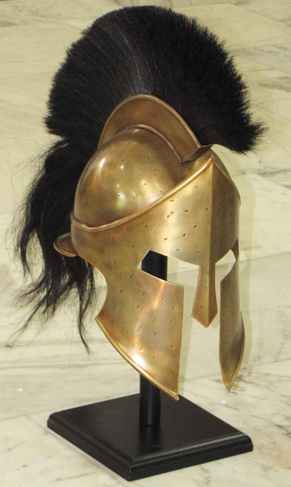 Queen Brass Reina latón 300 King Espartano Casco Griego con Larga Cola Negro Plum Maletero y Interior Tapa estándar Dorado y Negro: Amazon.es: Deportes y ...