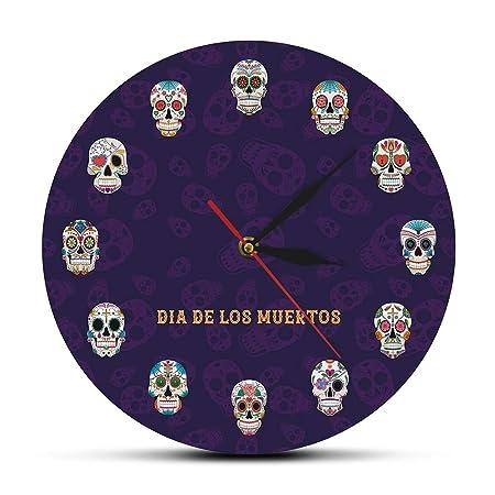 EWJY Reloj De Pared con Calavera Mexicana Flor Muerta Cabeza ...