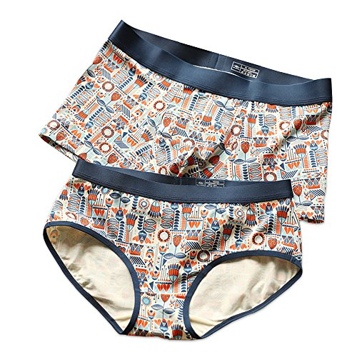 THSISSUE Couples Matching Underwear, Modal Couples Briefs for Boy/Girl Friend (X-Large, Men's Painting) by THSISSUE