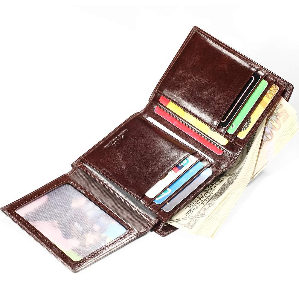 AIM Hommes Cuir Portefeuille Blocage RFID Titulaire de la Carte de cr/édit Porte-Monnaie /à Poche