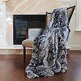 Best Home Fashion Faux Fur Throw - Lounge Blanket - Grey Snakeskin - 58''W x 60''L - (1 Throw)