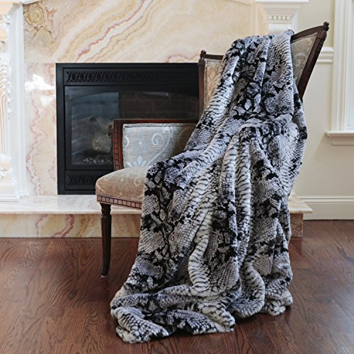 Best Home Fashion Faux Fur Throw - Lounge Blanket - Grey Snakeskin - 58''W x 60''L - (1 Throw) by Best Home Fashion