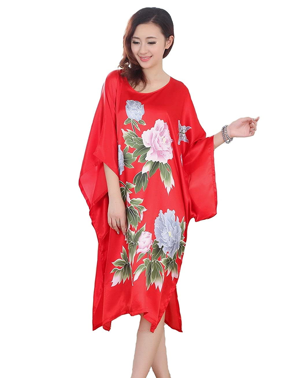 JTC Chinese Silk Ladies Lingerie Robe Dressing Gown Nightwear Womens Clothing Sleepwear Nightdress 4Colors