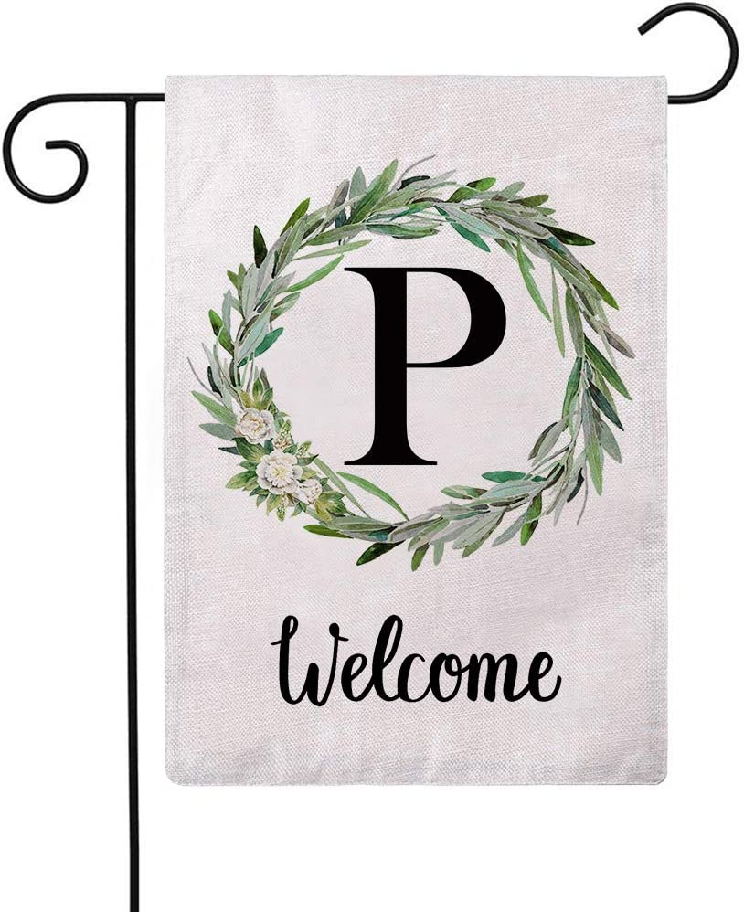 ULOVE LOVE YOURSELF Welcome Decorative Garden Flags with Letter P/Olive Wreath Double Sided House Yard Patio Outdoor Garden Flags Small Garden Flag 12.5×18 Inch