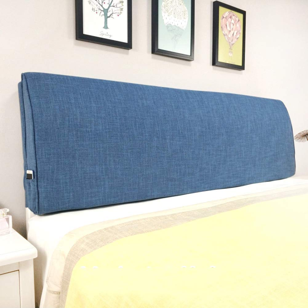 PENGFEI Cushion Bed Backrest Headboard Soft Cover Reading Pillow Waist Upholstered, with/Without Headboard Standard, 3 Colors, 9 Sizes (Color : Dark Blue with Headboard, Size : 90CM)