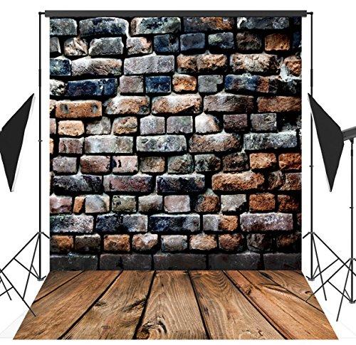 5x7FT Brick Wood Floor Photography Backdrop Customized Photo Background Studio Prop RM-003 (Homemade Halloween Photo Backdrops)