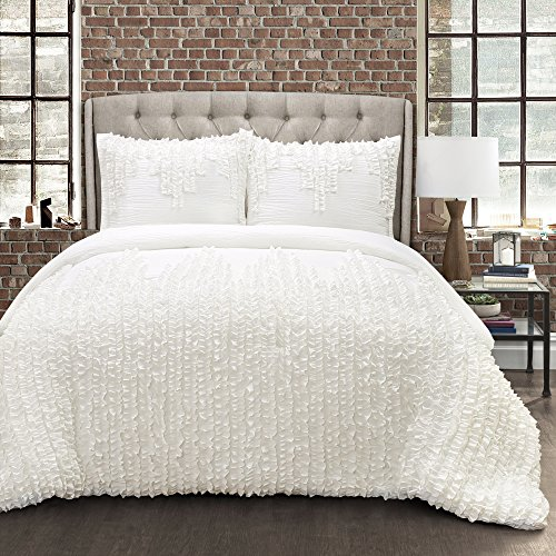 Lush Decor Ruffle Stripe 3Piece Comforter Set, King, (Stripe King Ruffle)