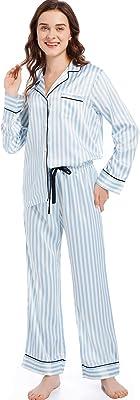 Serenedelicacy Women's Silky Satin Pajamas Button Up Long Sleeve PJ Set Sleepwear Loungewear