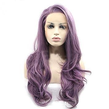 Pelucas Delanteras Del Cordón Moda De La Mujer De Color Púrpura Largo Y Rizado Disfraces Cosplay
