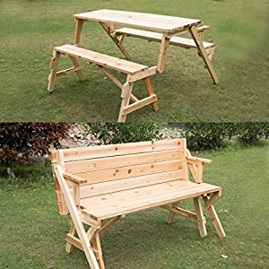 Outsunny 2 in 1 Convertible Picnic Table & Garden Bench