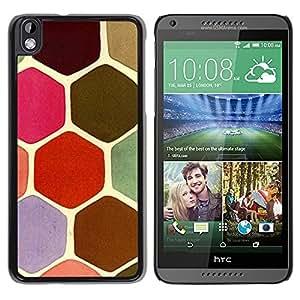TopCaseStore / la caja del caucho duro de la cubierta de protección de la piel - Scales Pastel Turtle Hexagon Pink Green - HTC DESIRE 816