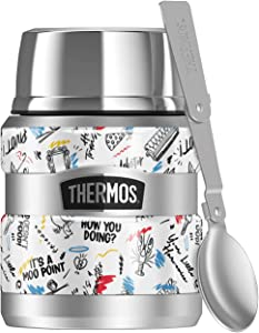 Friends Ink Pen Friends Pattern THERMOS STAINLESS KING Stainless Steel Food Jar with Folding Spoon, Vacuum insulated & Double Wall, 16oz