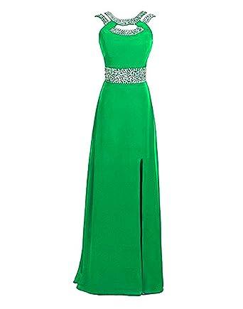 2215ec8f0a74 Ruiyuhong Chiffon Sequin Bright Green Evening Dresses Long Maxi Backless Formal  Gown