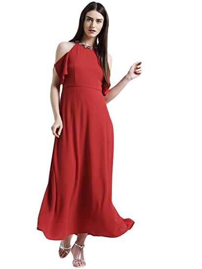 84e20a8314209 Zink London Red Solid Embellished Neck Maxi Dress for Women  Amazon ...