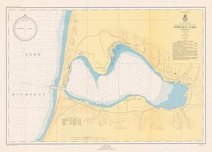Portage Lake Michigan Map.Amazon Com Vintography Reprinted 8 X 12 Nautical Map Of Portage