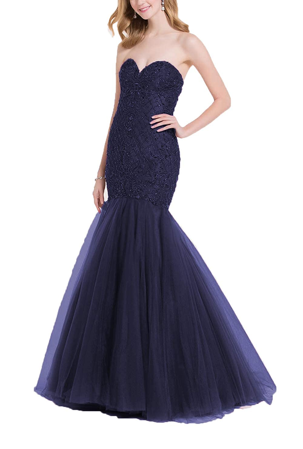 Nave bluee Yisha Bello Women's Sweetheart Strapless Beaded Mermaid Pro Dress Long Tulle Evening Ball Gowns