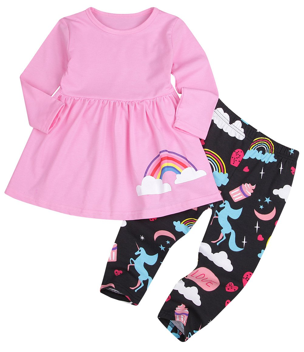 Younger star Toddler Girls Long Sleeve Pony Shirt Tops & Floral Pants Leggings Clothes (Pink, 5-6 T)