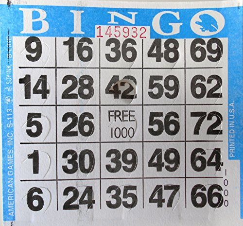 1 on Pushout Bingo Paper Cards - Blue - 250 cards