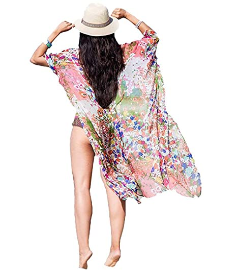 d47d90b1a8a Bestyou Women's Long Kimono Cardigan Chiffon Cover Ups for Swimwear Floral  Print Beachwear Maxi Dresses