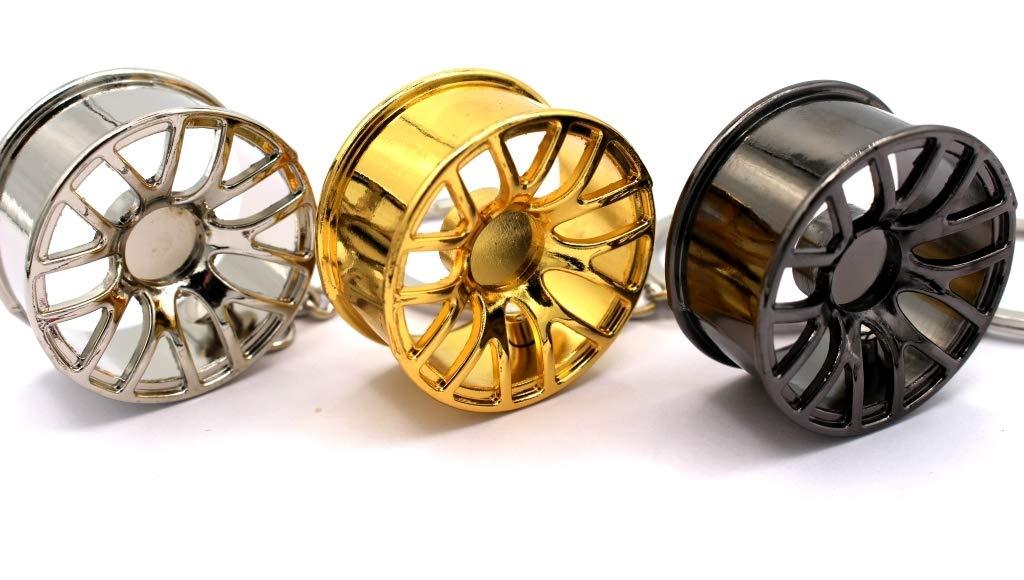 BBS Blau Portachiavi di lusso a forma di cerchi in metallo BBS Vossen cromato boost-key.com in cuoio
