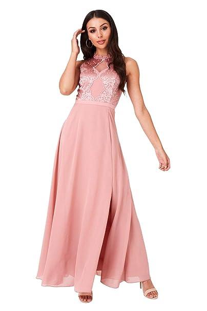 Little Mistress Ginnie Apricot Embroidery Maxi Dress Amazon