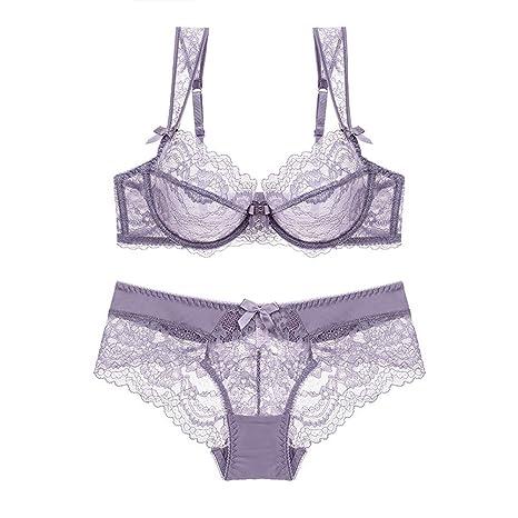 97fbc9c1f13 Amazon.com  Zukzi Womens See Through Soft Lace Bra and Knicker Sets  Underwear Set  Clothing