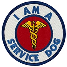 "I AM A SERVICE DOG Sew-On Embroidered Patch - 3"" Diameter"